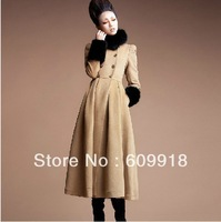 2013 Winter Fashion Women Wool Fur Collar Wool Coat  Woolen Overcoat Long Dresses Free Shipping