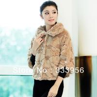 Rose 2013 female mink hair velvet wrist-length short sleeve design fur top thickening outerwear