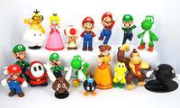 "Wholesale Retail Factory Plastic Super Mario Bros 1-2.5"" 18PCS/SET Action figures Toys PVC Doll Gifts Creative"