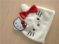2013-2014 New Kids Winter cap  Children Knitted hat Woolen Hat Baby Knit Cap Lovely White Cat HK& 3 size 6-24mos,2-4Y,4-8Y