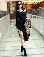 Fashion women's modal cutout placketing strapless sexy slim waist long-sleeve slim hip one-piece dress full dress
