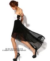 Fashion sexy tube top cutout racerback ruffle irregular chiffon full dress
