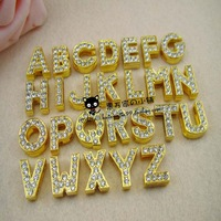 Free shipping!130pcs/lot  8mm A-Z Full gold Rhinestone Slide letters Charm DIY Accessories fit pet collar dog collar or bracelet
