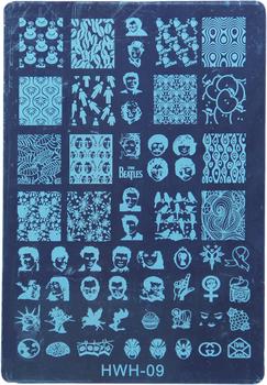 New Arrival Large Size Nail Stamp Plates Retail HWH-09  Fashion Designs Konad Stamping Nail Art Set Nail Stencil Templates