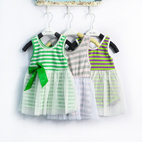 summe fashion girl clothes rainbow striped  girl princess floral tutu lace vest print dress kids flower dresses clothing