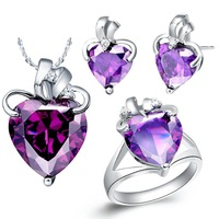 Free Shipping 925 Silver jewelry sets crystal jewelry wedding jewelry Women Set Birthday gift Jewelry wholesale T066