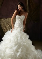 Free shipping!2012 Sexy New Arrival Sweetheart Applique Beaded Organza Mermaid White Wedding Dress Bridal Dresses