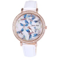 Shinny Zircons inlayed fashion Watch, dragonfly drawing on the dial, pu leather band