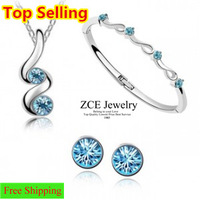 Made with Swarovski elements Top selling Asustrian crystal jewelry sets Necklaces bangles Earrings Free shipping