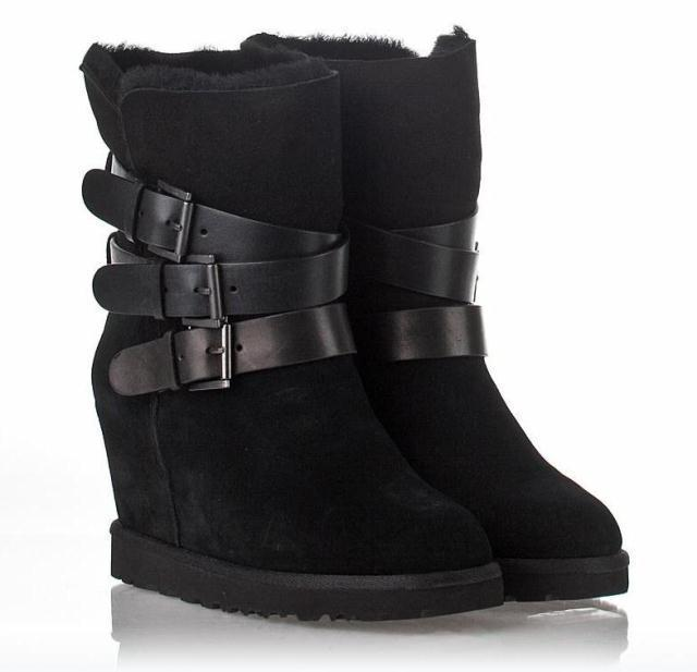 Free shipping 2014 new fashion brand Ash boots fur ,buckle genuine leather cotton winter sheepskin wool snow women boots(China (Mainland))