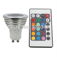 Hot!!! Free Shipping RGB 16 Color Changed Lamp Spotlight 50000H Lifespan Warranty 3 Years High Bright 3W RGB LED Spotlight