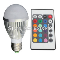 Free Shipping 5W RGB LED Spotlight Bulb Remote Conroller 16 Color Changing 50000H Lifespan High Lumen Multicolor LED Bulb