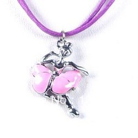 Cheap Cartoon Dancer Girl Charm Necklaces Jewelry Gift For Children Wholesale Free Shopping Kid's Necklace0058