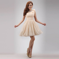 new 2014 spring The bride married one shoulder dress evening dress short oblique party dresses