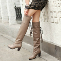 Autumn and winter street sexy boots small tassel high-leg soft leather boots elegant boots