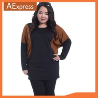 New Arrival European Fashion Hit Color Women Bat Shirts with Long Sleeve, Casual Long Tops, Plus Size, L, XL, XXL, 3XL, P-132