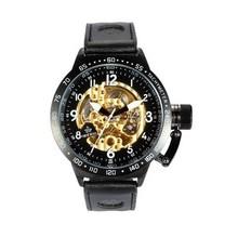 Relógio mercado russo oco europa Qi Na autêntica cinto masculino relógio mecânico automático de volta através da forma masculina(China (Mainland))