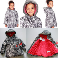 Exports to UK M&S brand 2013 new winter children's clothing thick warm coat for girls child Leopard padded skiwear outerwear