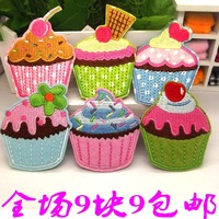 Adhesive embroidery fabric patch applique accessories child clothes sweater decoration ice cream cake