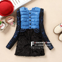 2013 winter sweet lace sleeve patchwork jacket slim medium-long rabbit fur down cotton-padded coat lady outwear warm cotton coat