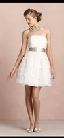 2014 New Arrival White Party Dresses Belt Custom Made Organza Short Mini Girls Gown Sexy New Fashion Strapless