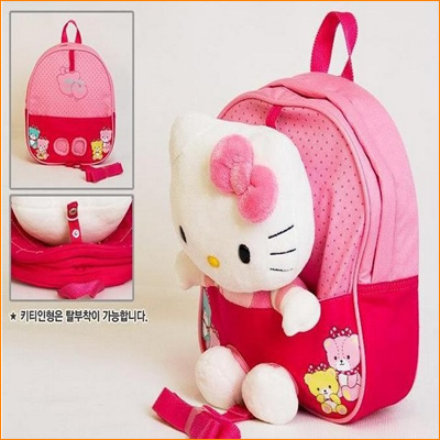 2013 Trends Baby Bags For Kids Girls Cute 3D School Bag child backpack Hello Kitty Toy Children Backpacks With Free Shipping(China (Mainland))