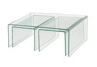 Bent Glass Nesting Coffee Tables, Modern Glass Tea Table for Living Room