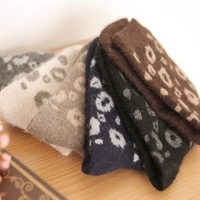 Wholesale 10 Pair/Lot Winter Women New Arrive Warm Cotton Sexy Leopard Rabbit Wool Socks Free Shipping A012