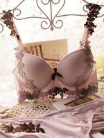 Embroidery crochet . luxurious lace shoulder strap glossy adjustable bra set deep V-neck thick push up bra