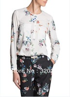 Free shipping!  Blusas  2014  Girls  Double Pockets Flower Pattern Casual Cotton Shirts  Ladies Womens Fashion blouse