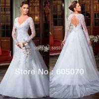 2014 Elegant Sexy V Neckline Full Sleeve Appliques Backless Floor Length Court Train White Wedding Dresses Spring New Fashion