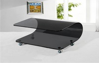 Hot Bend Glass Coffee Table, Black Glass Side Table, Measures 100 x 60 x 43cm