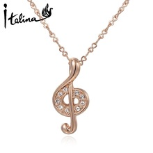 Italina Valentine's Day gift Music Note Pendant Necklace With Austrian Crystal Stellux Zirconia Party Jewelry Gift #RG70344(China (Mainland))