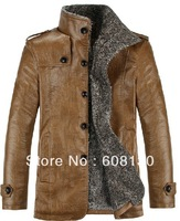 Winter Men Slim leather collar plus thick velvet leather men's leather jacket coat