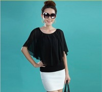 Summer new large size women chiffon shirt short-sleeved shirt Slim bat sleeve T-shirt L, XL, XXL, XXXL, XXXXL 4XL free shipping