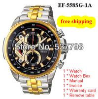 Original New Gold EF-558SG-1AV EF-558SG-1A EF-558SG 558SG Men's Chronograph Tachymeter Mineral Glass 100M Gents Wristwatch