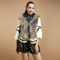 genuine Marten hair mink overcoat raccoon fur leather coat Women 2013 high quality three quarter sleeve luxury fur coat