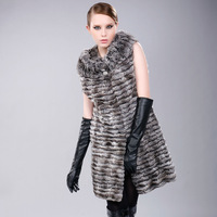 genuine luxury mink fur vest 2013 long design Light gray sleeveless fur coat fashion mink overcoat vest women's