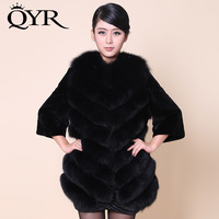 genuine full leather fox fur coat rex rabbit hair patchwork women's medium-long slim gentlewomen
