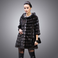genuine mink hair o-neck luxury fur coat ultra long women's 2013 Three quarter sleeve fur outerwear