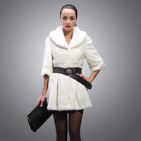genuine luxury mink fur coat white medium-long mink hair women's overcoat fifth sleeve outerwear 2013