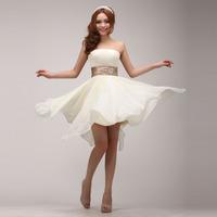 2014 new fashion The bride waist tube top short formal dress irregular  prom dress short design strap evening dress