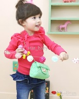 Wholesale - 2013 New Korean Autumn Winter Fashion Bowknot Long Sleeve Girls Undershirt Childrens Butterfly Long Sleeve Shirts C0