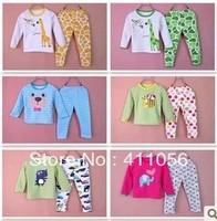 Winter child children 100% cotton cashmere thermal underwear set male female child plus velvet thickening