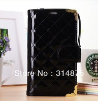 Free Shipping Deluxe Classical Patent Leather Skin Wallet Case For Samsung Galaxy Note 3 N9000 With Phone Strap