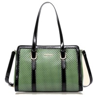 Minimalist trend Women Plaid Embossing Leather Handbag Shoulder Satchel Tote Bag