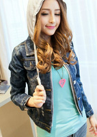 2013 spring and autumn plus size water wash flower with a hood denim outerwear short design long-sleeve top female