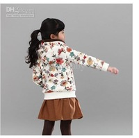 Wholesale - Thicken Coral Fleece Flower Girl Hoodies Winter Cardigan Child Casual Coat Children Floral Outwear Woollen Hoodies C