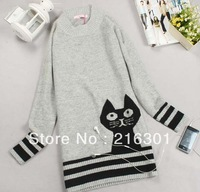 Autumn Pure Knit Long Sleeve Loose Long Sweater Women's Turtleneck Cat Design Gray Color Free Shipping
