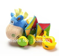 Retails, FREE SHIPPING!Multifunctional bed hanging plush puzzle toy donkey pulling a small earthquake rattles baby colorful toys